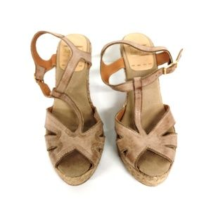 kanna Shoes - Kanna Leather Espadrille Wedge Sandals Size 8